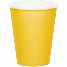School Bus Yellow Paper Cups 266ml Pack of 24