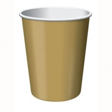 Glittering Gold Hot & Cold Paper Cups 266ml Pack of 24