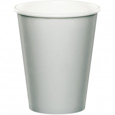 Shimmering Silver Paper Cups 266ml Pack of 24