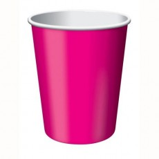Hot Magenta Paper Paper Cups 266ml Pack of 24