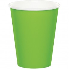 Fresh Lime Green Paper Cups 266ml Pack of 24