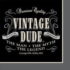 Vintage Dude Beverage Napkins 25cm x 25cm Pack of 16