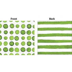 Elise Designs Verdi Green Print Dots & Stripes Beverage Napkins