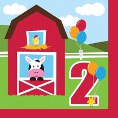 Farmhouse Fun 2nd Birthday Lunch Napkins