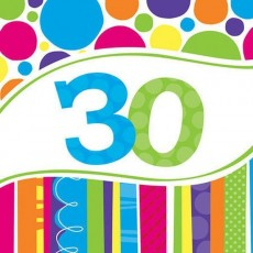 30th Birthday Bright and Bold Lunch Napkins