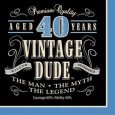 Vintage Dude 40th Birthday Lunch Napkins 33cm x 33cm Pack of 16