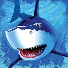 Shark Splash Blue  Lunch Napkins