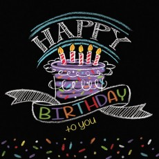 Chalkboard Birthday Cake Lunch Napkins