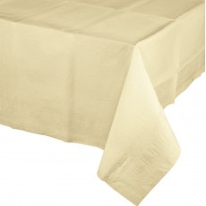 Ivory Party Supplies - Table Cover Tissue & Plastic Back