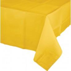 School Bus Yellow Tissue & Plastic Back Table Cover 137cm x 274cm