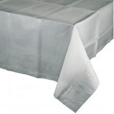 Silver Shimmering Tissue & Plastic Back Table Cover