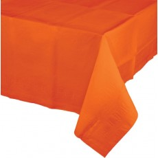 Orange Sunkissed Tissue & Plastic Back Table Cover