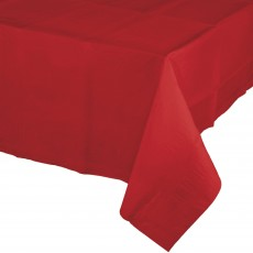 Red Classic Tissue & Plastic Back Table Cover