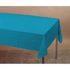 Blue Turquoise Tissue & Plastic Back Plastic Table Cover