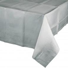 Shimmering Silver Tissue & Plastic Back Table Cover 137cm x 274cm
