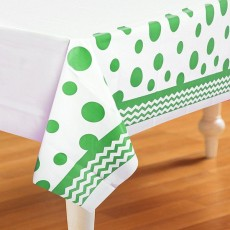 Chevron Design Fresh Lime Celebrations & Dots Plastic Table Cover