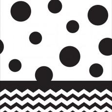 Chevron Design Black Velvet Celebrations & Dots Plastic Table Cover