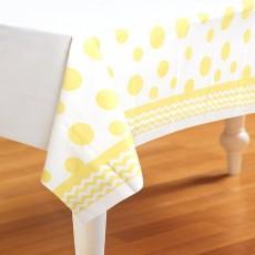 Chevron Design Mimosa Yellow Celebrations & Dots Plastic Table Cover