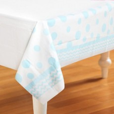 Chevron Design Pastel Blue Celebrations & Dots Plastic Table Cover