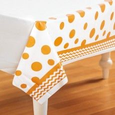 Chevron Design Orange Celebrations & Dots Plastic Table Cover