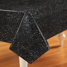 Space Blast Black  Plastic Table Cover