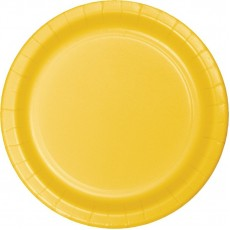 Round School Bus Yellow Paper Lunch Plates 18cm Pack of 24