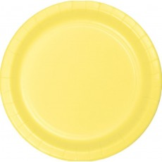Round Mimosa Yellow Paper Lunch Plates 18cm Pack of 24