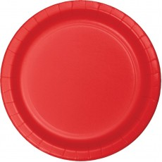 Round Classic Red Lunch Plates 18cm Pack of 24