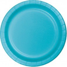 Round Bermuda Blue Paper Lunch Plates 18cm Pack of 24