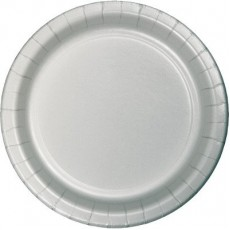Round Shimmering Silver Lunch Plates 18cm Pack of 24
