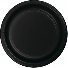 Round Black Velvet Paper Lunch Plates 18cm Pack of 24