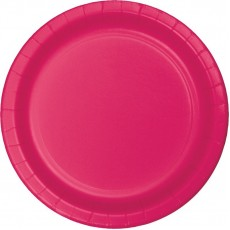 Round Hot Magenta Paper Lunch Plates 18cm Pack of 24