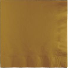 Square Glittering Gold Beverage Napkins 25cm x 25cm Pack of 50