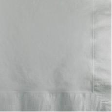 Square Shimmering Silver Beverage Napkins 25cm x 25cm Pack of 50