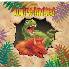 Dinosaur Dino Blast Gatefold Invitations Pack of 8