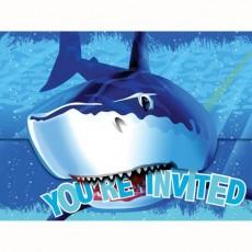 Shark Splash Gatefold Invitations 15cm x 11cm Pack of 8