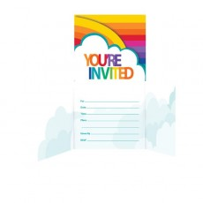 Rainbow Diecut Gatefold Invitations 11cm x 11cm Pack of 8
