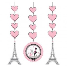 Party in Paris Cutouts String Hanging Decorations 91cm Pack of 3