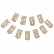 Wedding Rustic Country Hessian Just Married Banner