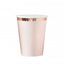 Rose Gold Ditsy Floral Polka Dot Paper Cups 266ml Pack of 8