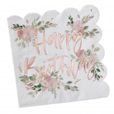 Ditsy Floral Happy Birthday Lunch Napkins 16.5cm x 16.5cm Pack of 16