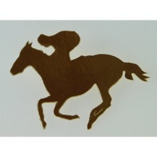 Horse Racing Gold Horse & Rider Cutouts 100mm Pack of 12