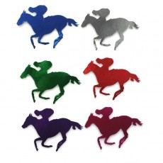Horse Racing Multi Coloured Horse & Rider Cutouts 100mm Pack of 12