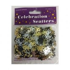 18th Birthday Black, Silver & Gold Scatter Confetti
