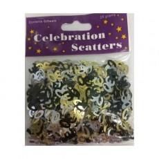 30th Birthday Gold, Silver & Black Scatter Confetti