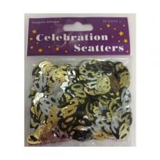 40th Birthday Black, Silver & Gold Scatter Confetti