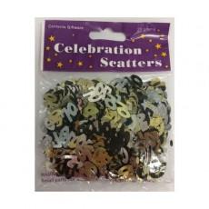 70th Birthday Black, Silver & Gold Scatters Confetti