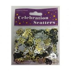 80th Birthday Gold, Silver & Black Scatters Confetti