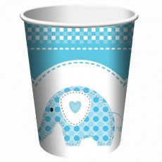Christening Blue Sweet Baby Elephant Paper Cups