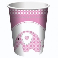 Christening Pink Sweet Baby Elephant Paper Cups